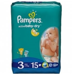 Подгузники Pampers Active Baby-Dry Midi 4-9кг 15шт/уп