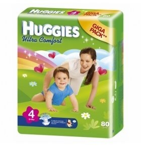 Подгузники HUGGIES Ultra Comfort GIGA-Pack №4 (8-14 кг)  80шт/уп