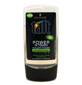 "Гель для волос Taft ""Power 'N Touch"", мегафиксация супер сильная. 150 мл."