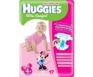 Подгузники HUGGIES Ultra Comfort GIRL 4+ 10-16 кг CONV 17 шт.