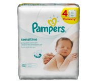 Салфетки дет. Pampers SensitiveQuatro сменный блок 4*56шт/уп