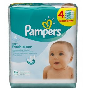 Салфетки дет. Pampers BabyFreshQuatro сменный блок 4*64шт/уп